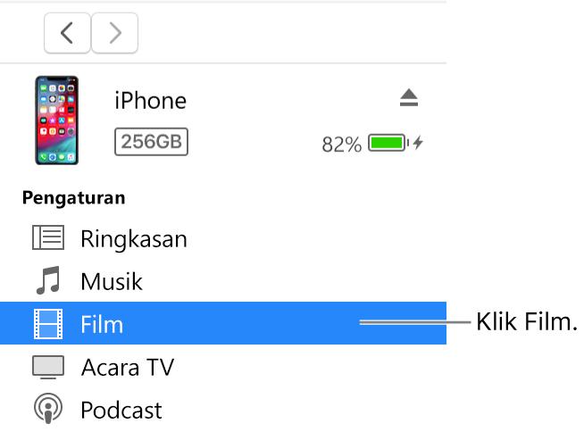 Tombol Perangkat, dengan Film dipilih di bar samping sebelah kiri.