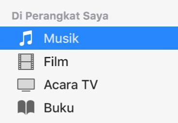 Bagian Di Perangkat Saya di bar samping menunjukkan Musik yang dipilih.