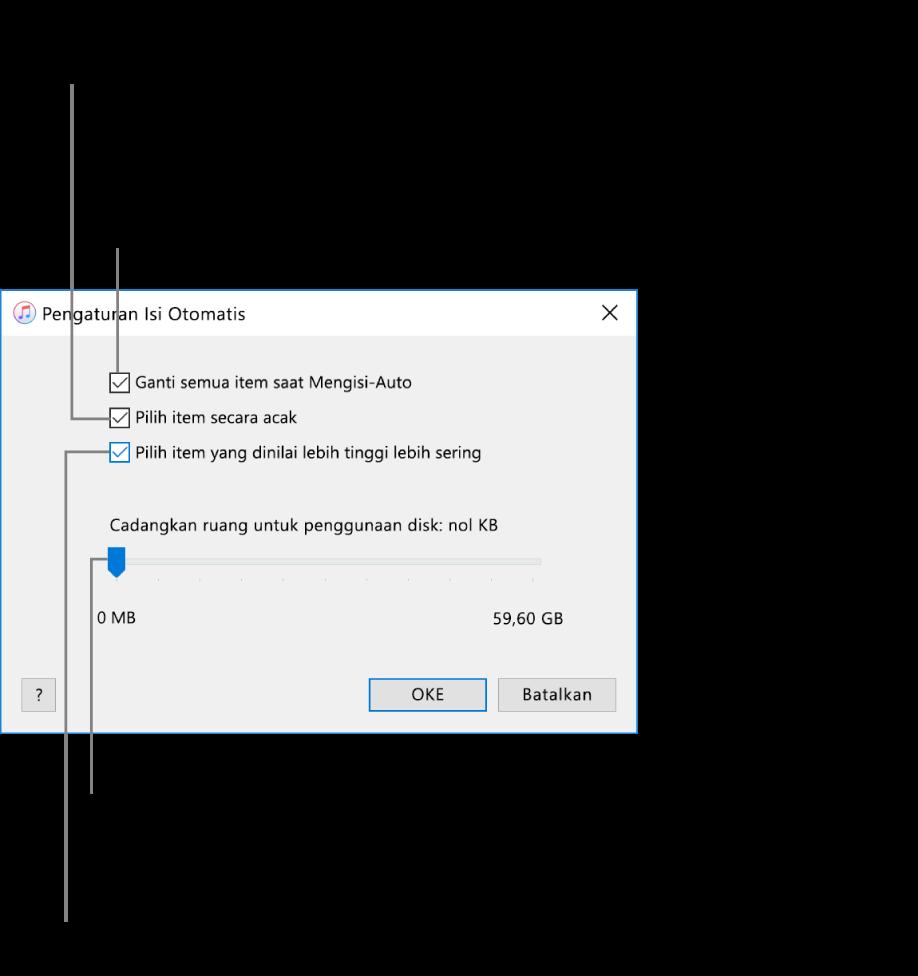 """Dialog Pengaturan Isi-Auto menampilkan empat pilihan, dari atas ke bawah. Jika Anda memiliki musik di perangkat Anda dan ingin Isi-Auto untuk mengganti semua item dengan lagu baru, pilih opsi """"Ganti semua item saat Mengisi Otomatis""""; jika tidak, batal pilih untuk mengisi ruang yang tersisa di perangkat Anda. Untuk menambahkan lagu dalam urutan yang muncul di perpustakaan atau daftar putar yang dipilih, batal pilih opsi """"Pilih item secara acak."""" Pilihan berikutnya, """"Pilih item yang dinilai lebih tinggi lebih sering"""" tersedia hanya jika Anda memilih opsi """"Pilih item secara acak."""" Jika Anda ingin mengatur ruang yang akan digunakan sebagai hard disk, sesuaikan penggeser untuk mengatur kapasitas disk."""