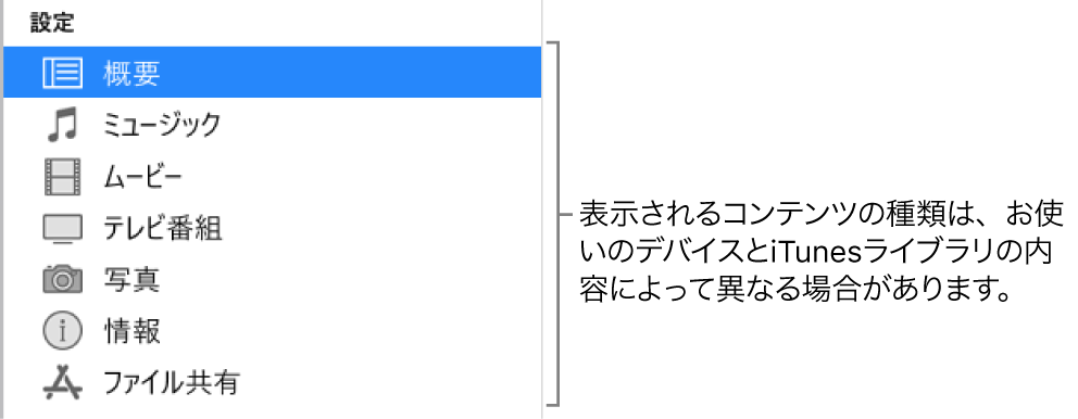 左側のサイドバーで「概要」が選択されています。表示されるコンテンツの種類は、デバイスおよびiTunesライブラリのコンテンツによって異なる場合があります。
