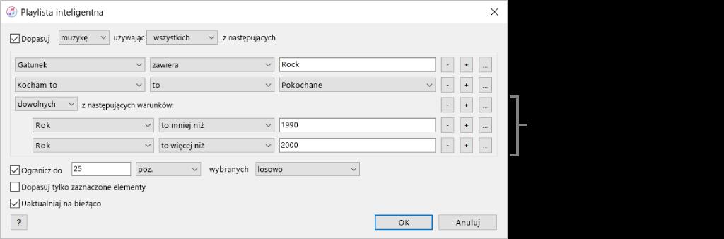 Okno playlisty inteligentnej: Użyj widocznego po prawej przycisku zagnieżdżania, aby utworzyć dodatkowe, zagnieżdżone reguły, umożliwiające uzyskanie bardziej szczegółowych wyników.