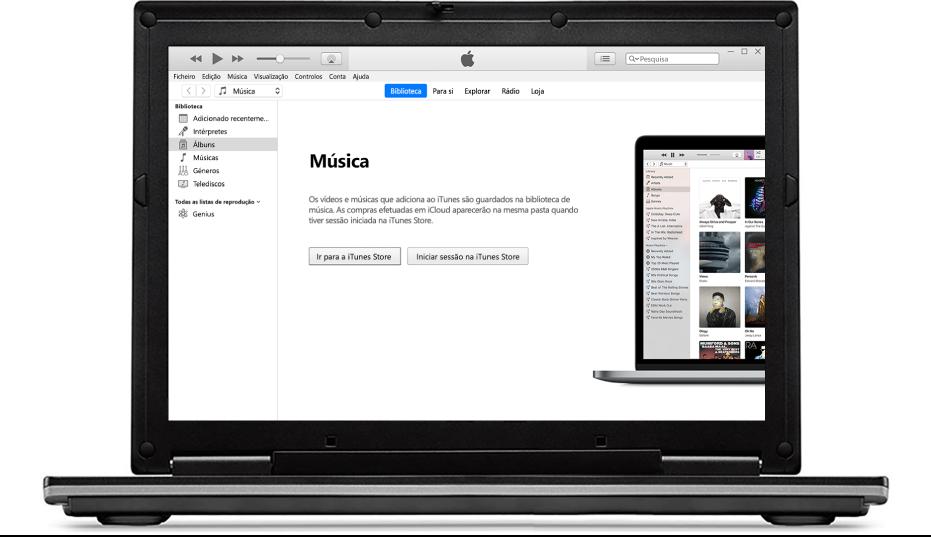 Um PC com uma nova biblioteca do iTunes vazia.