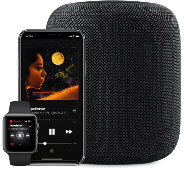 Vista de uma música em Apple Music a ser reproduzida num Apple Watch, iPhone e HomePod.