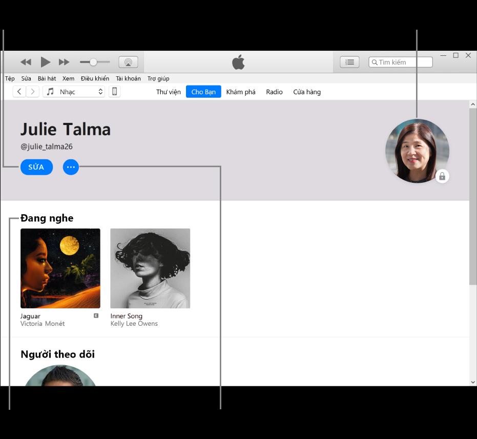 Trang trang cá nhân trên Apple Music: Trong góc trên cùng bên trái, bên dưới tên của bạn, bấm vào Sửa để sửa trang cá nhân hoặc ảnh của bạn và chọn người có thể theo dõi bạn. Ở bên phải của Sửa, bấm vào nút Thêm để báo cáo lo ngại hoặc chia sẻ trang cá nhân của bạn. Trong góc trên cùng bên phải là nút Tài khoản của tôi. Bên dưới tiêu đề Đang nghe là tất cả các album bạn đang nghe và bạn có thể bấm vào nút Thêm để ẩn các đài phát bạn đang nghe, chia sẻ playlist, v.v.