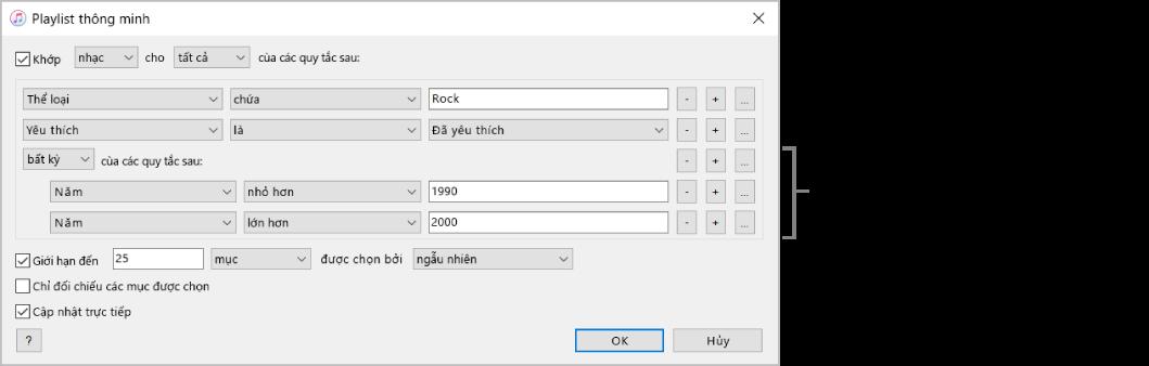 Cửa sổ Playlist thông minh: Sử dụng nút Lồng ở bên phải để tạo các quy tắc được lồng nhau, bổ sung để nhận các kết quả cụ thể hơn.