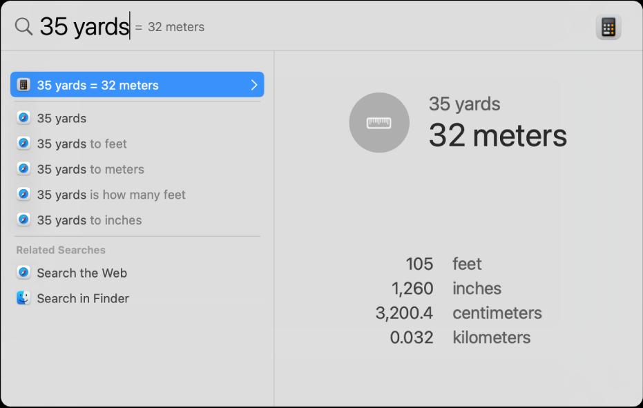 La finestra de l'Spotlight amb una conversió de iardes a metres al camp de cerca. A l'esquerra hi ha una llista de resultats de cerca. A la previsualització de la dreta es mostren conversions addicionals.