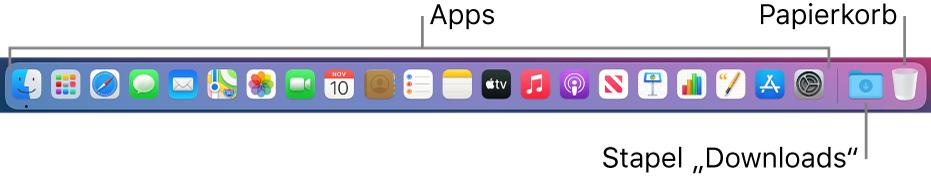"""Das Dock mit Symbolen für Apps, dem Stapel """"Downloads"""" und dem Papierkorb"""