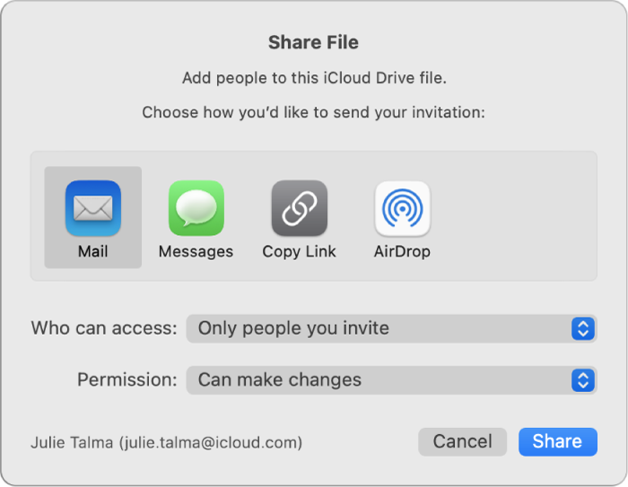Share File window showing apps that you can use to make invitations and the options for sharing documents.