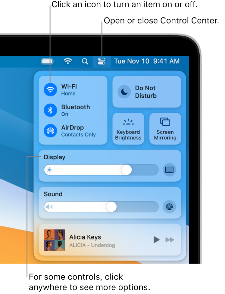 Control Center in the top-right portion of the screen, showing controls for Wi-Fi, Do Not Disturb, Sound, and Now Playing, among others.