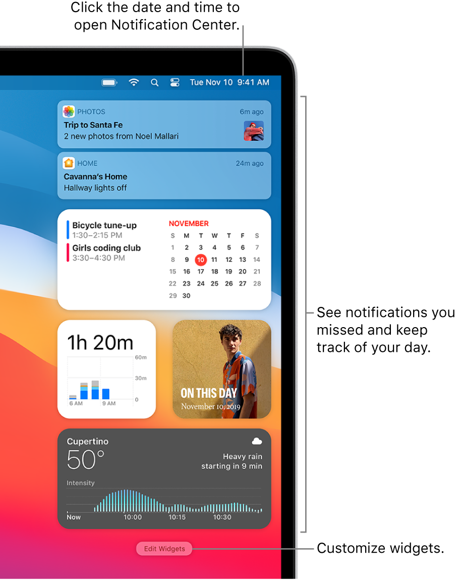 Notifications and widgets in Notification Center.