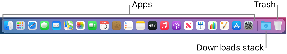 The Dock showing icons for apps, the Downloads stack, and the Trash.