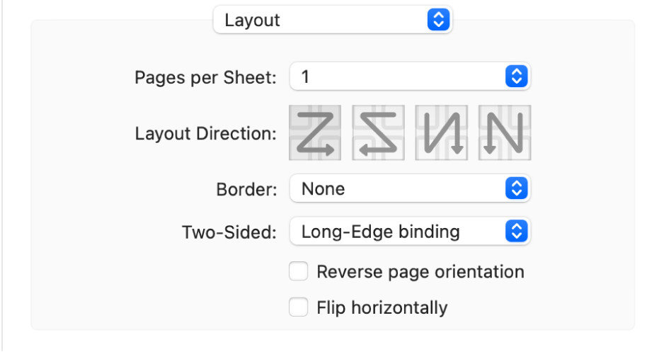 The Layout option chosen in the print option pop-up menu, with the Reverse page orientation checkbox.