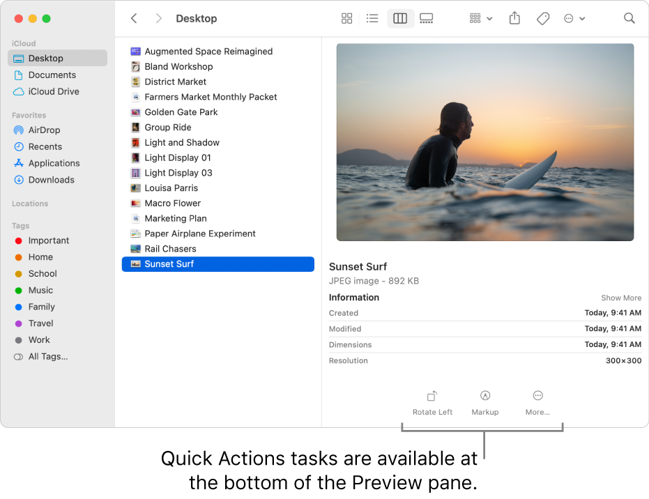 The bottom of the Preview pane showing the Quick Actions buttons.