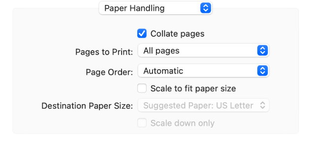 The Paper Handling option chosen in the print options pop-up menu and the Page Order pop-up menu appears for changing page order.
