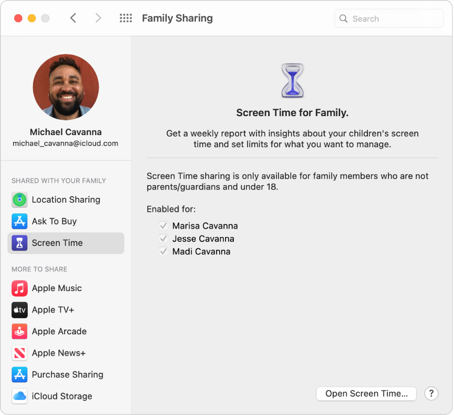 Family Sharing preferences showing a sidebar of different types of account options you can use and the Screen Time preferences for an existing account.