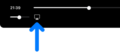 Los controles de reproducción en la app AppleTV. El ícono de video de AirPlay debajo de la barra de estado.