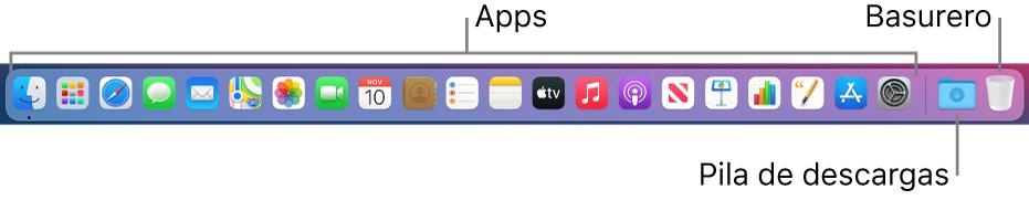 El Dock mostrando íconos de apps, la pila de Descargas, y el Basurero.