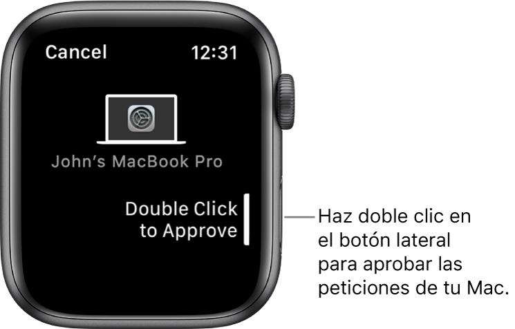 AppleWatch con una solicitud de aprobación de un MacBookPro.