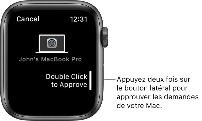 AppleWatch qui affiche une demande d'autorisation en provenance d'un MacBookPro.