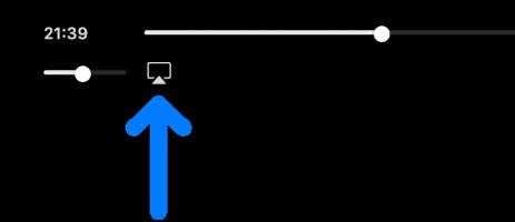 Les commandes de lecture dans l'app AppleTV. L'icône vidéo AirPlay se trouve en dessous de la barre de progression.