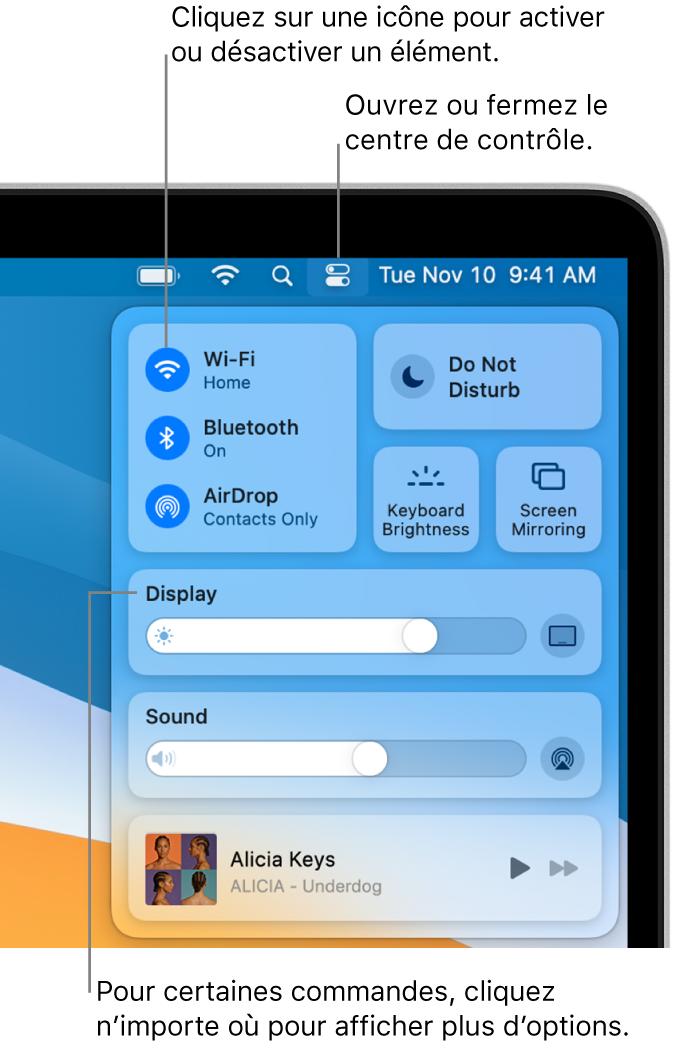 Le centre de contrôle dans la portion supérieure droite de l'écran, affichant les commandes pour Wi-Fi, «Ne pas déranger», Son et «À l'écoute», entre autres.