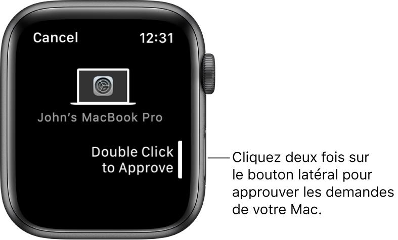 AppleWatch présentant une demande d'approbation d'un MacBookPro.
