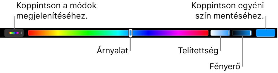 A Touch Bar a HSB-mód árnyalat, a telítettség és a fényerő csúszkáival. A bal oldalon lévő gomb az összes mód megjelenítésére szolgál; a jobb oldalon lévő gomb az egyéni színek mentésére.