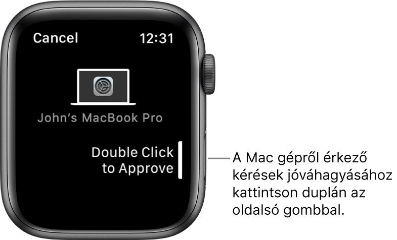 Egy Apple Watch, amelyen egy MacBook Pro által küldött elfogadási kérelem látható.