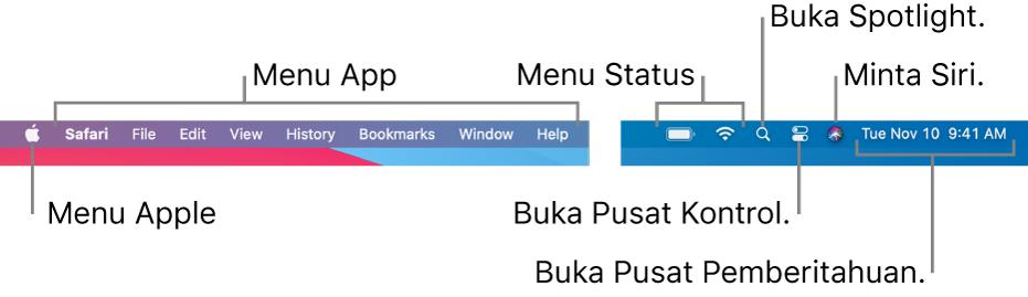 Bar menu. Di kiri terdapat menu Apple dan menu app. Di kanan terdapat menu status, Spotlight, Pusat Kontrol, Siri, dan Pusat Pemberitahuan.