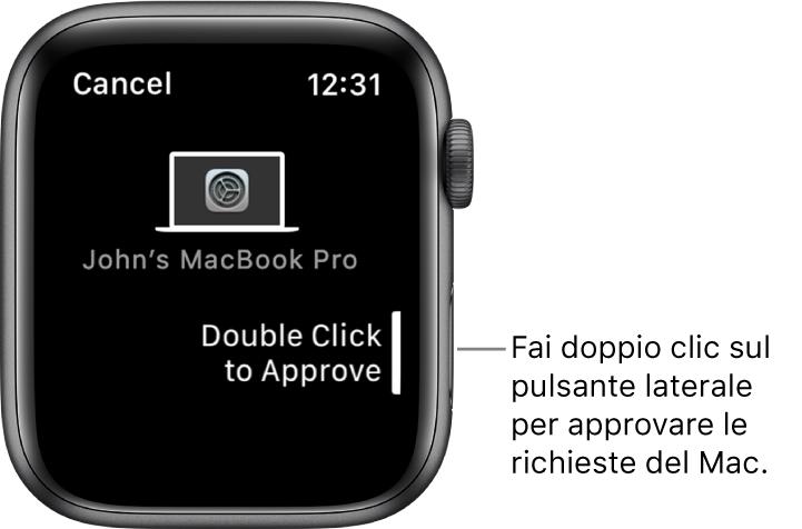 Apple Watch che mostra una richiesta di approvazione da MacBook Pro.