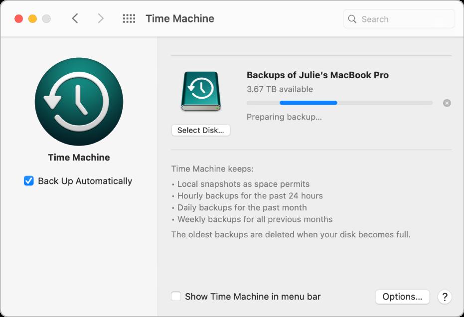Keutamaan Time Machine menunjukkan status kemajuan sandaran ke pemacu luaran.