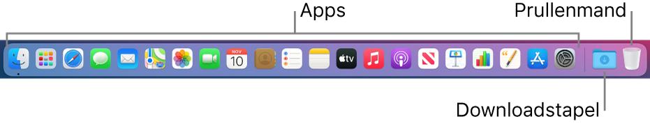 Het Dock met symbolen voor apps, de stapel 'Downloads' en de prullenmand.