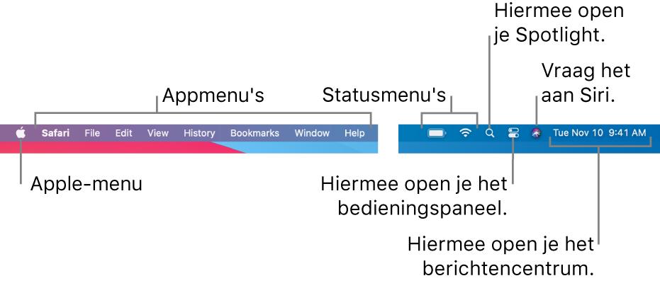 De menubalk. Links staan het Apple-menu en de appmenu's. Rechts staan de statusmenu's, Spotlight, het bedieningspaneel, Siri en het berichtencentrum.