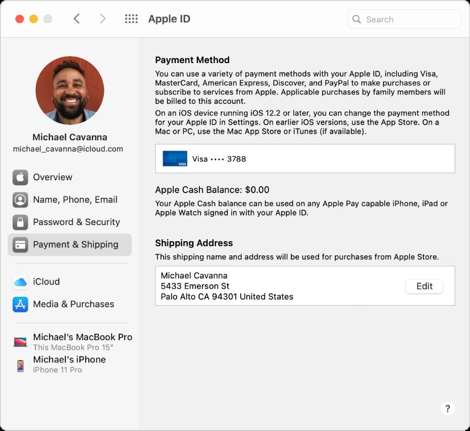 Het paneel 'AppleID' in Systeemvoorkeuren, met een navigatiekolom met daarin verschillende typen accountopties die je kunt gebruiken, en het voorkeurenpaneel 'Betaling en bezorging' voor een bestaande account.