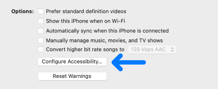 Synchronisatieopties en de knop 'Configureer toegankelijkheid'.