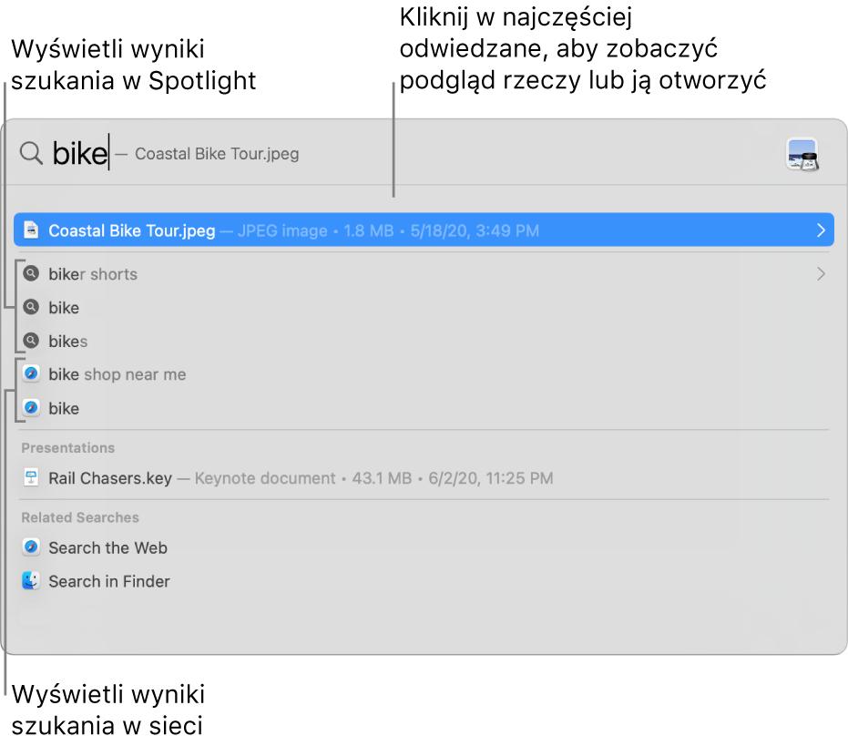 Okno Spotlight pokazujące szukany tekst wpolu wyszukiwania na górze okna. Poniżej widoczne są wyniki wyszukiwania.