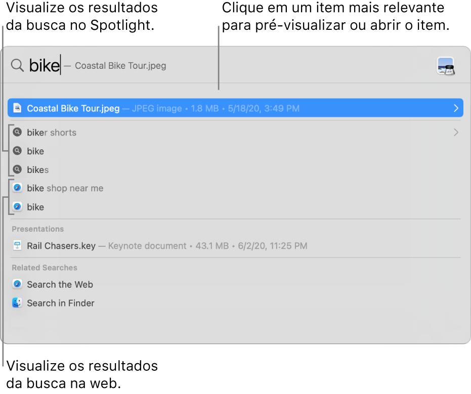 Janela do Spotlight mostrando um texto de busca no campo de busca na parte superior da janela e os resultados abaixo.