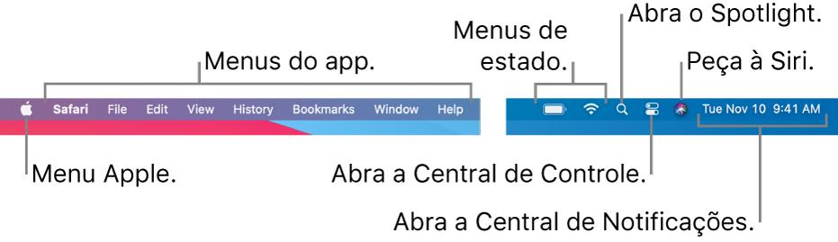 A barra de menus. À esquerda, encontram-se o menu Apple menu e menus de apps. À direita, encontram-se os menus de estado, o Spotlight, a Central de Controle, a Siri e a Central de Notificações.