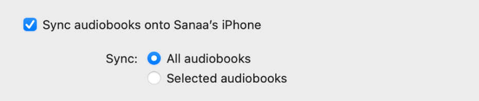 Kryssrutan Synkronisera ljudböcker till enhet är markerad, och knappen Alla ljudböcker är vald medan knappen Markerade ljudböcker inte är vald.