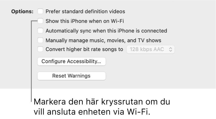 Synkroniseringsalternativen visar kryssrutor för att manuellt hantera innehållsobjekt med kryssrutan Visa denna [enhet] vid anslutning till Wi-Fi utpekad.