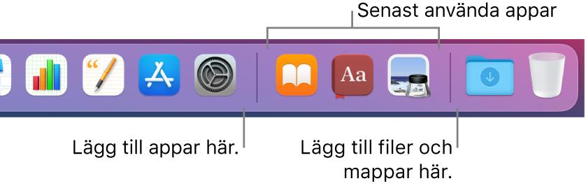 En del av Dock med avgränsningslinjerna mellan appar, senast använda appar samt filer och mappar.