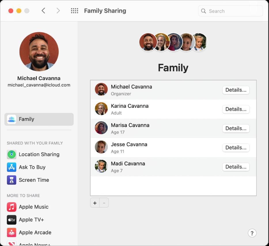 Inställningspanelen Familjedelning med ett sidofält med olika typer av kontoalternativ som du kan använda och inställningspanelen Familj för ett befintligt konto.