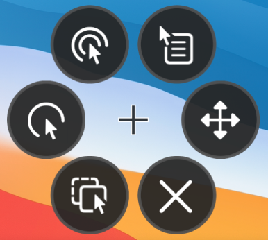 The circular Options menu whose buttons include, from the top right and moving clockwise, Right Click, Scroll Menu, Close, Drag and Drop, Left Click, and Double Click.