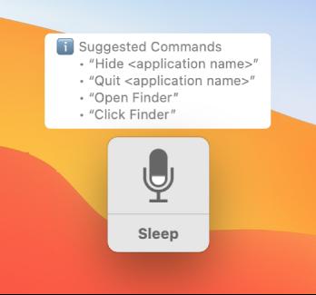 """La ventana de retroalimentación de """"Control por voz"""" con comandos sugeridos, como """"Abrir Finder"""" o """"Hacer clic en Finder"""" junto a él."""
