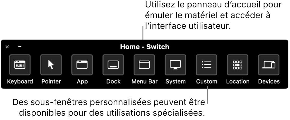 Le panneau d'accueil du Contrôle de sélection fournit des boutons pour contrôler, de gauche à droite, le clavier, le pointeur, l'app, le Dock, la barre des menus, les commandes système, les panneaux personnalisés, l'emplacement de l'écran et d'autres appareils.