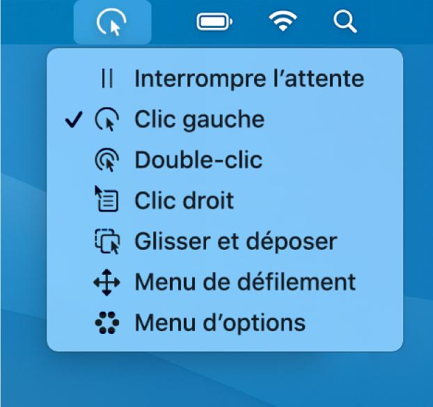 Le menu d'état Attente, contenant les boutons suivants de haut en bas: Interrompre l'attente, Clic gauche, Double-clic, Clic droit, Glisser et déposer, Menu de défilement et Menu d'options.