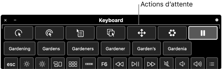 Boutons correspondant aux actions d'attente situés en haut du clavier d'accessibilité.