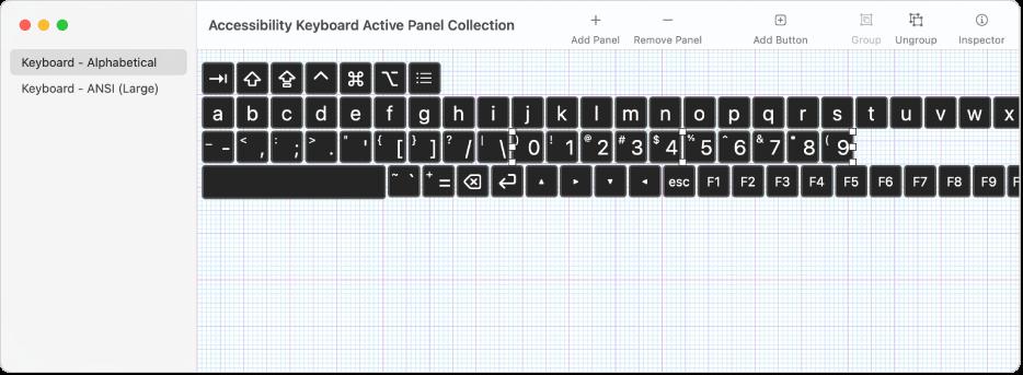 Une fenêtre de collections de sous-fenêtres montrant une liste de sous-fenêtres de clavier à gauche, et à droite les boutons et les groupes contenus dans une sous-fenêtre.