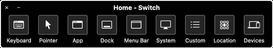स्विच कंट्रोल होम पैनल बाएँ से दाएँ नियंत्रण, कीबोर्ड, पॉइंटर, ऐप्स, Dock, मेनू बार, सिस्टम नियंत्रण, कस्टम पैनल, स्क्रीन स्थान और अन्य डिवाइस को नियंत्रित करने के बटन प्रदान करता है।