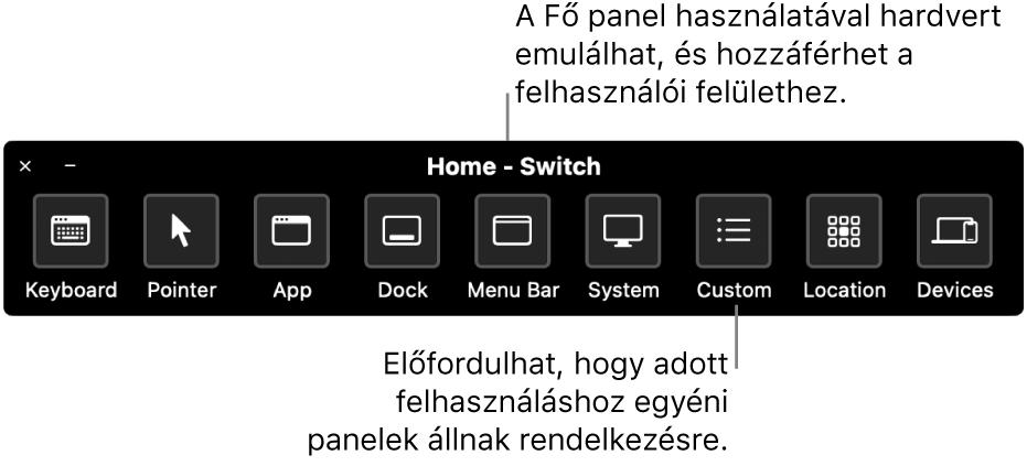A Kapcsolóvezérlés Főoldal paneljén található gombok az alábbi elemek irányítását teszi lehetővé, balról jobbra: billentyűzet, mutató, alkalmazás, Dock, menüsor, rendszervezérlők, egyéni panelek, képernyő elhelyezkedés és egyéb eszközök.